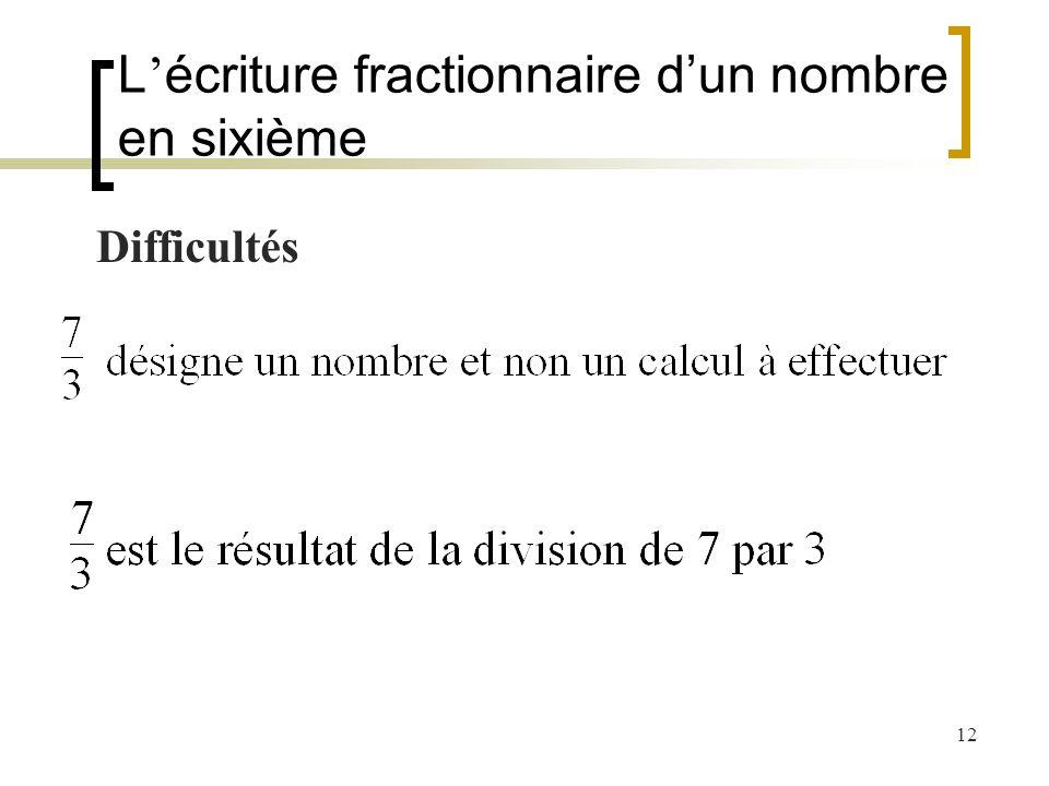 12 Difficultés L écriture fractionnaire dun nombre en sixième