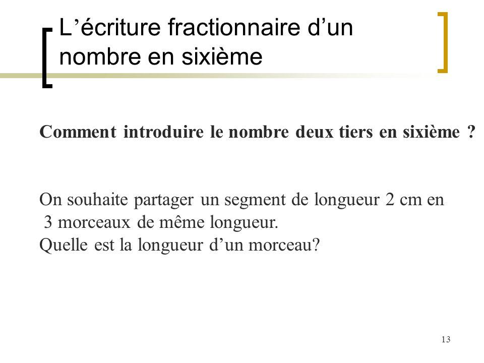 13 L écriture fractionnaire dun nombre en sixième Comment introduire le nombre deux tiers en sixième ? On souhaite partager un segment de longueur 2 c