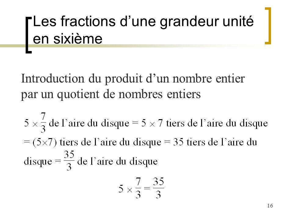 16 Introduction du produit dun nombre entier par un quotient de nombres entiers Les fractions dune grandeur unité en sixième