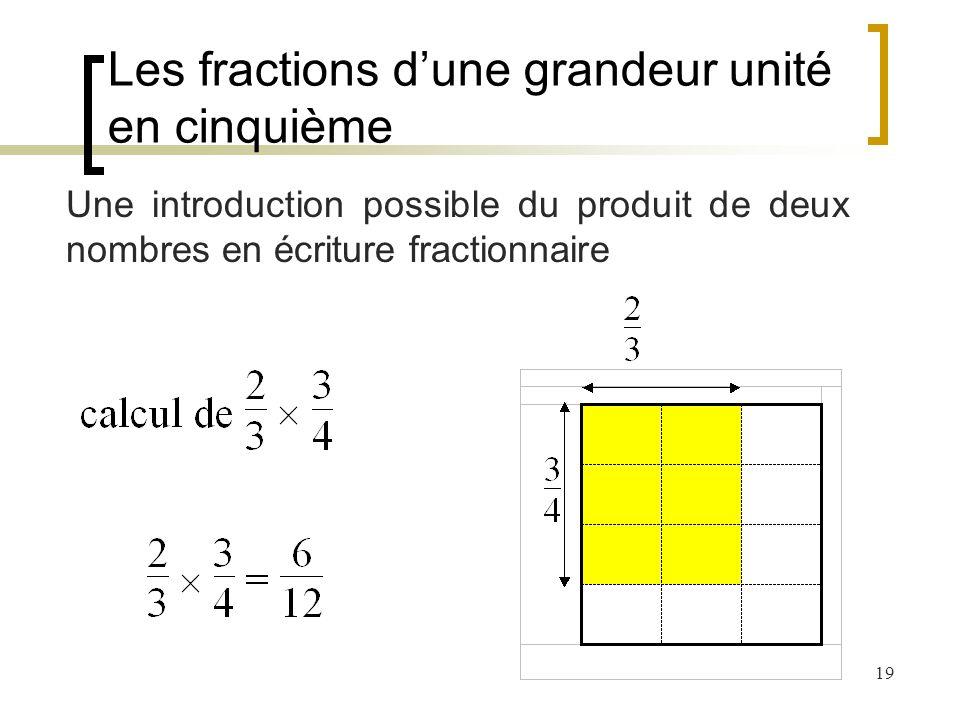 19 Une introduction possible du produit de deux nombres en écriture fractionnaire Les fractions dune grandeur unité en cinquième