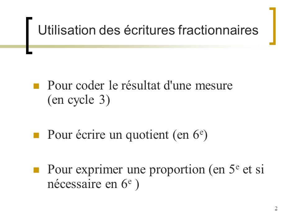 2 Utilisation des écritures fractionnaires Pour coder le résultat d'une mesure (en cycle 3) Pour écrire un quotient (en 6 e ) Pour exprimer une propor