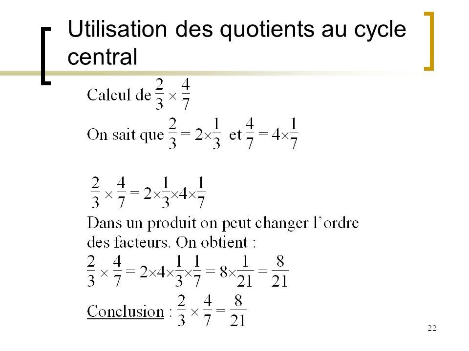 22 Utilisation des quotients au cycle central