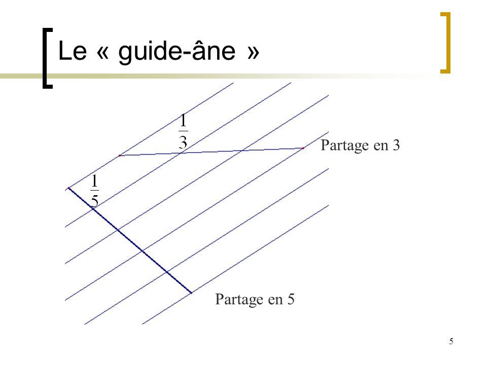 5 Le « guide-âne » Partage en 5 Partage en 3