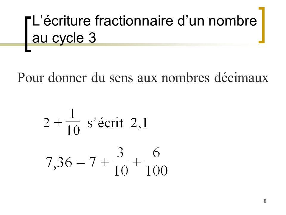 8 Lécriture fractionnaire dun nombre au cycle 3 Pour donner du sens aux nombres décimaux