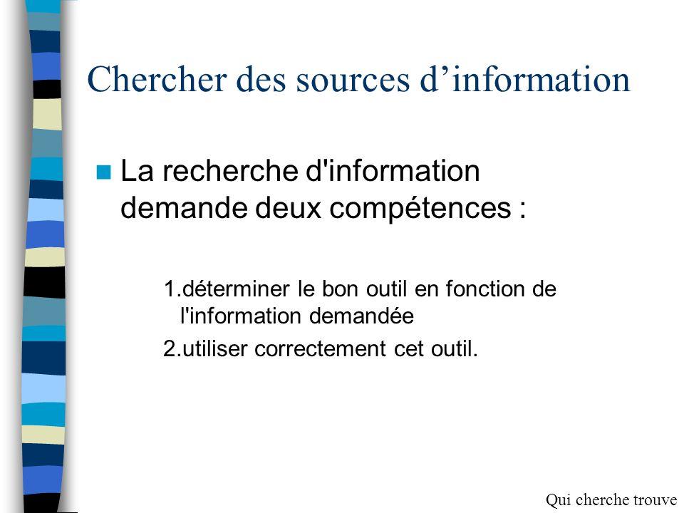 Pour réussir une recherche… Cerner le sujet Chercher des sources dinformation Sélectionner les documents Prélever de linformation Traiter linformation Communiquer linformation Qui cherche trouve
