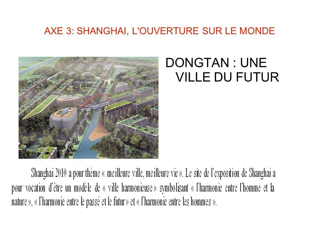 AXE 3: SHANGHAI, L'OUVERTURE SUR LE MONDE DONGTAN : UNE VILLE DU FUTUR