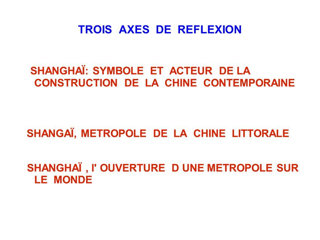 TROIS AXES DE REFLEXION SHANGHAÏ: SYMBOLE ET ACTEUR DE LA CONSTRUCTION DE LA CHINE CONTEMPORAINE SHANGAÏ, METROPOLE DE LA CHINE LITTORALE SHANGHAÏ, l'