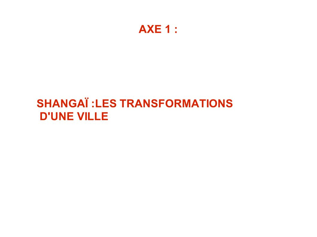 AXE 1 : SHANGAÏ :LES TRANSFORMATIONS D'UNE VILLE