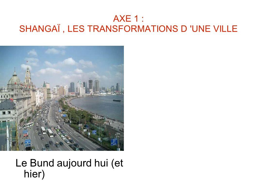 AXE 1 : SHANGAÏ, LES TRANSFORMATIONS D 'UNE VILLE Le Bund aujourd hui (et hier)