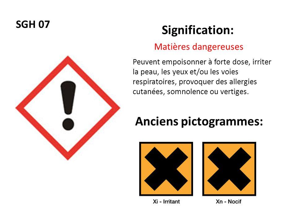 SGH 07 Signification: Anciens pictogrammes: Matières dangereuses Peuvent empoisonner à forte dose, irriter la peau, les yeux et/ou les voies respirato