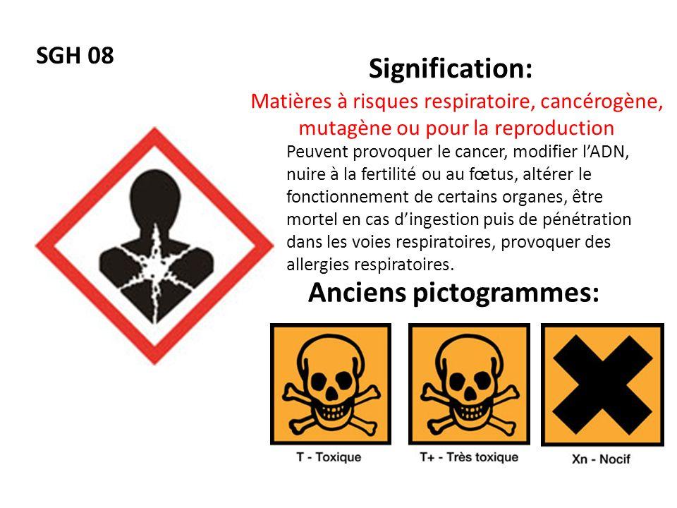 SGH 08 Signification: Anciens pictogrammes: Matières à risques respiratoire, cancérogène, mutagène ou pour la reproduction Peuvent provoquer le cancer