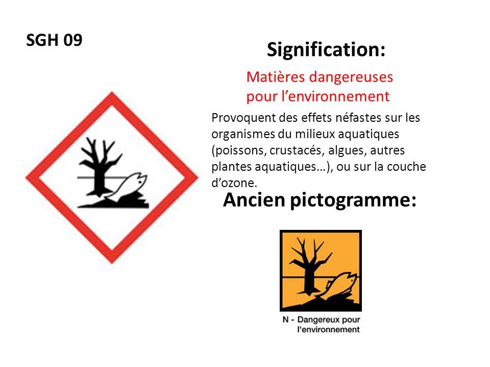 SGH 09 Signification: Ancien pictogramme: Matières dangereuses pour lenvironnement Provoquent des effets néfastes sur les organismes du milieux aquati