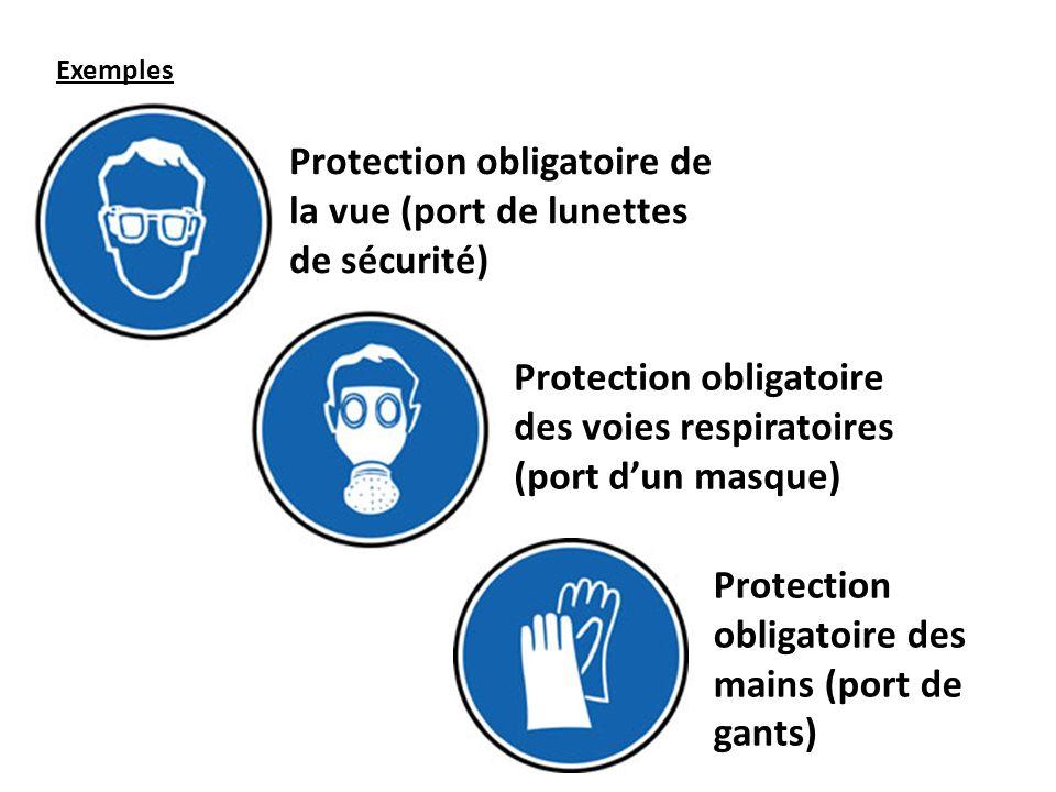 Exemples Protection obligatoire de la vue (port de lunettes de sécurité) Protection obligatoire des mains (port de gants) Protection obligatoire des v