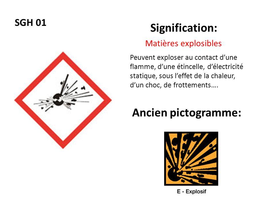 SGH 02 Signification: Anciens pictogrammes: Matières inflammables Peuvent senflammer au contact dune flamme, dune étincelle, délectricité statique, sous leffet de la chaleur, de frottements, au contact de lair ou de leau si elles dégagent des gaz inflammables.