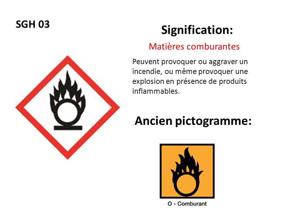 SGH 04 Signification: Ancien pictogramme: Matières sous pression Peuvent exploser sous leffet de la chaleur (gaz comprimés, liquéfiés ou dissous), causer des brûlures ou blessures liées au froid (gaz liquéfiés réfrigérés).