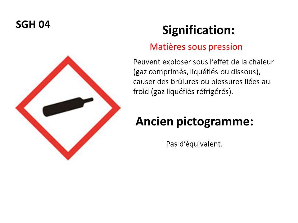 SGH 04 Signification: Ancien pictogramme: Matières sous pression Peuvent exploser sous leffet de la chaleur (gaz comprimés, liquéfiés ou dissous), cau