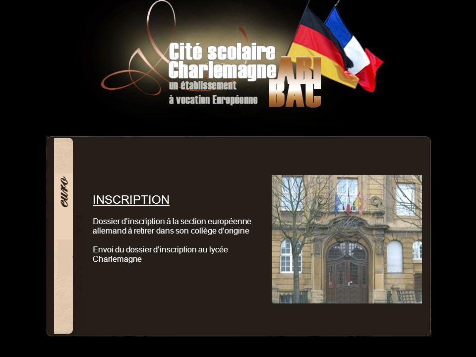 INSCRIPTION Dossier dinscription à la section européenne allemand à retirer dans son collège dorigine Envoi du dossier dinscription au lycée Charlemag