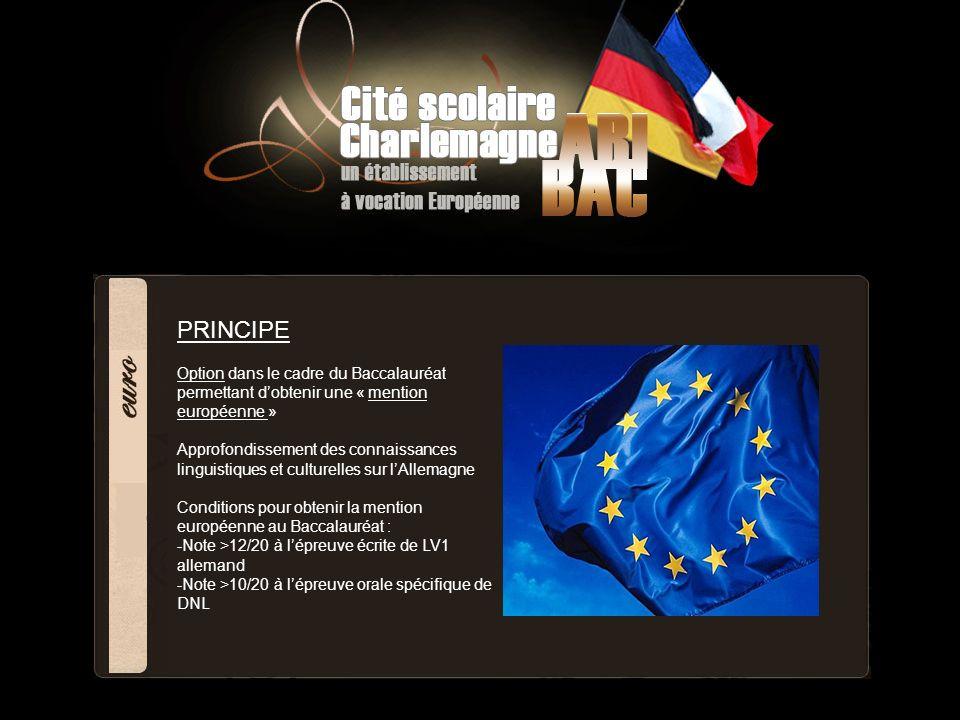 PRINCIPE Option dans le cadre du Baccalauréat permettant dobtenir une « mention européenne » Approfondissement des connaissances linguistiques et cult