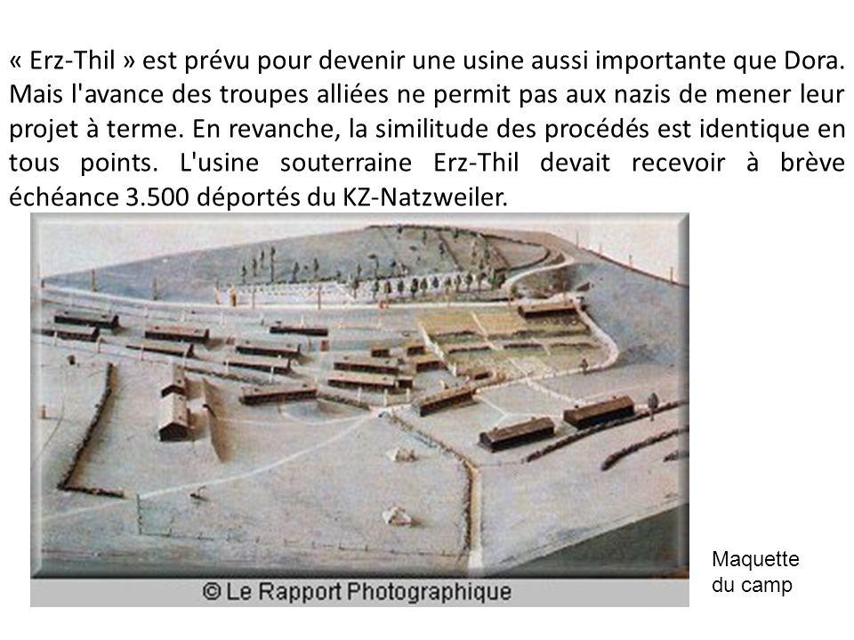 « Erz-Thil » est prévu pour devenir une usine aussi importante que Dora. Mais l'avance des troupes alliées ne permit pas aux nazis de mener leur proje