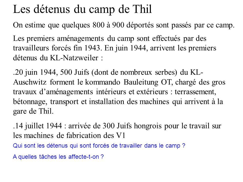 On estime que quelques 800 à 900 déportés sont passés par ce camp. Les détenus du camp de Thil Les premiers aménagements du camp sont effectués par de