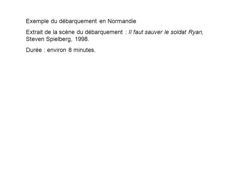 Exemple du débarquement en Normandie Extrait de la scène du débarquement : Il faut sauver le soldat Ryan, Steven Spielberg, 1998. Durée : environ 8 mi