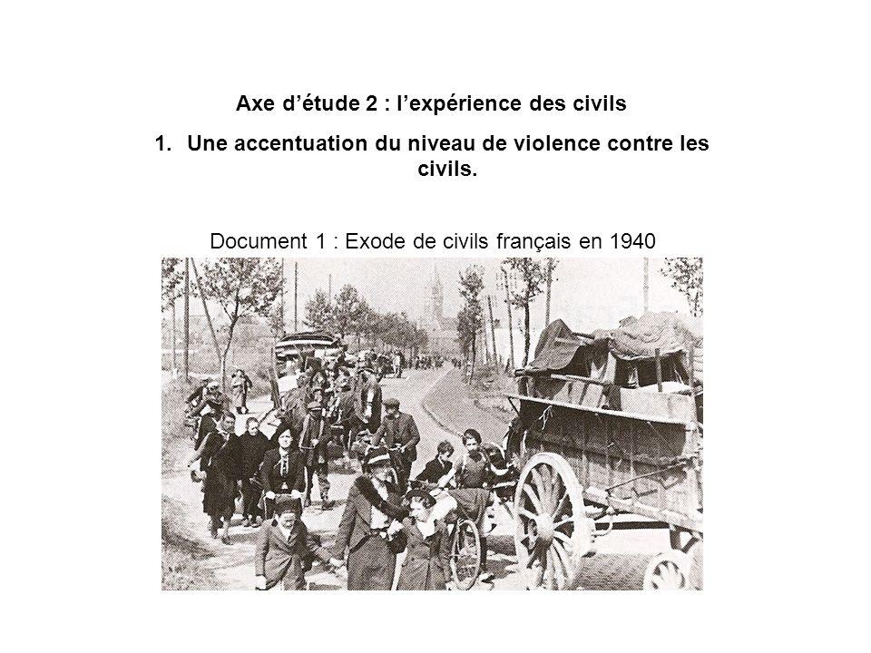 Axe détude 2 : lexpérience des civils 1.Une accentuation du niveau de violence contre les civils. Document 1 : Exode de civils français en 1940