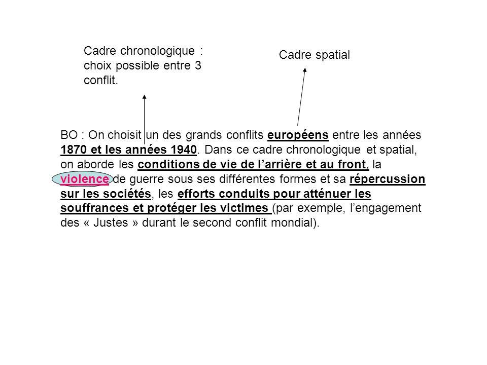 Cadre spatial Cadre chronologique : choix possible entre 3 conflit.