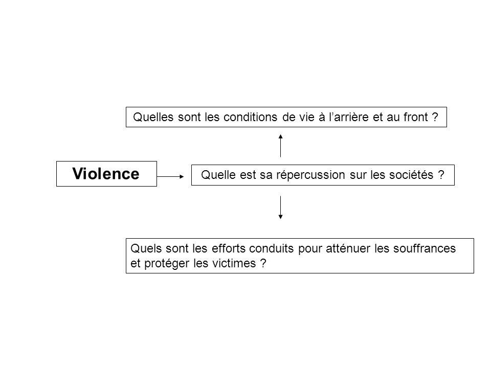 Violence Quelle est sa répercussion sur les sociétés ? Quelles sont les conditions de vie à larrière et au front ? Quels sont les efforts conduits pou