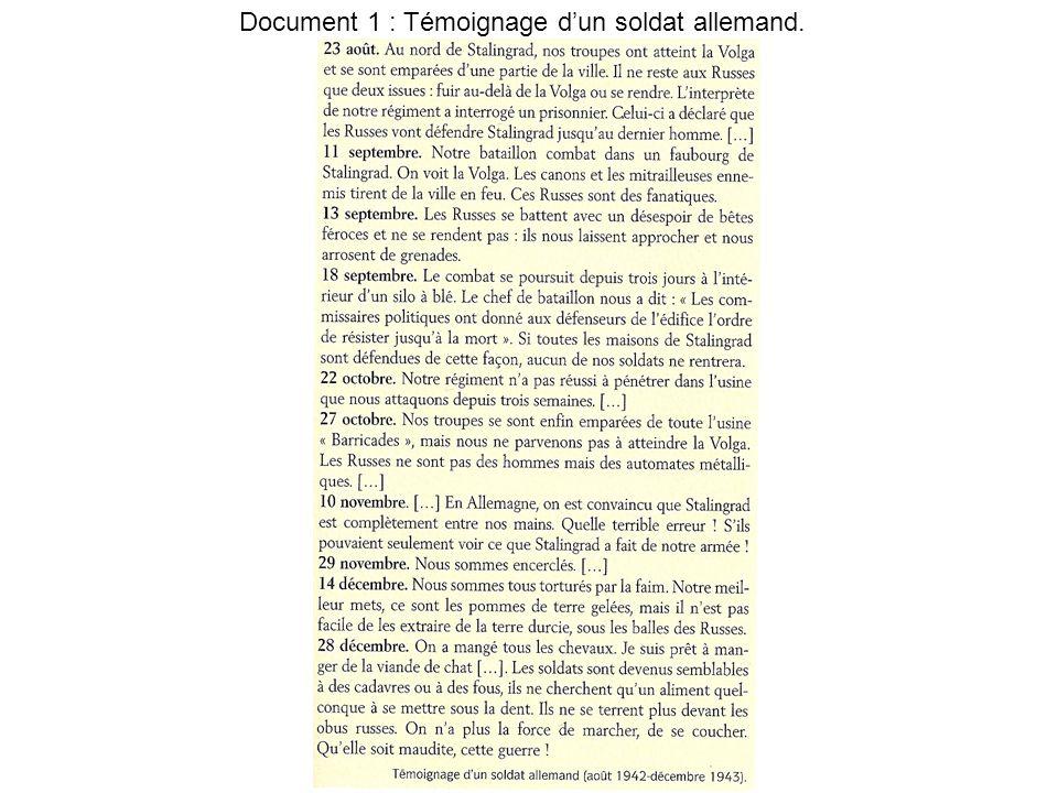 Document 1 : Témoignage dun soldat allemand.