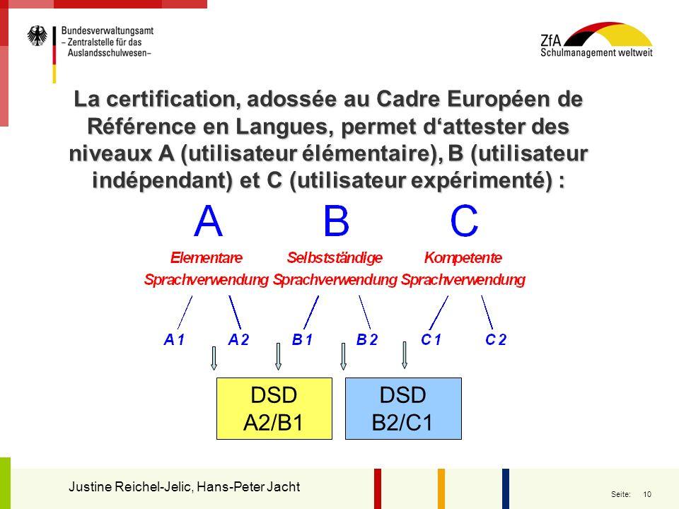 10 Seite: La certification, adossée au Cadre Européen de Référence en Langues, permet dattester des niveaux A (utilisateur élémentaire), B (utilisateu