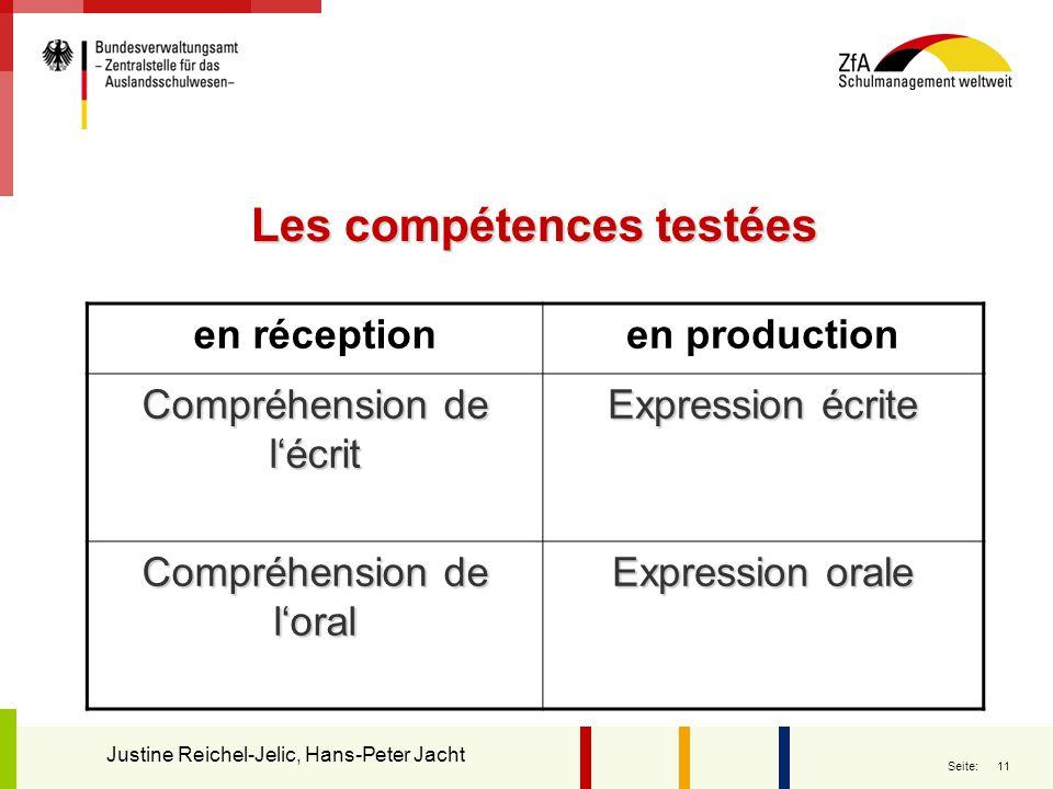 11 Seite: Les compétences testées en réceptionen production Compréhension de lécrit Expression écrite Compréhension de loral Expression orale Justine