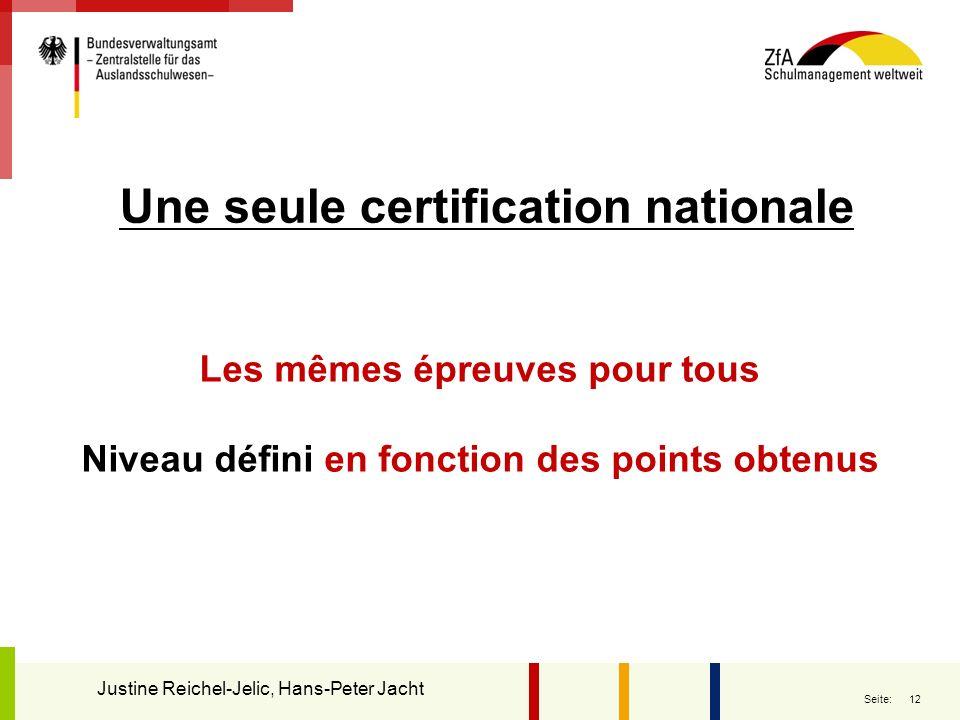 12 Seite: Une seule certification nationale Justine Reichel-Jelic, Hans-Peter Jacht Les mêmes épreuves pour tous Niveau défini en fonction des points