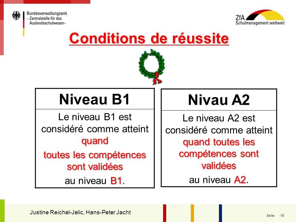 16 Seite: Conditions de réussite Conditions de réussite Niveau B1 quand Le niveau B1 est considéré comme atteint quand toutes les compétences sont val