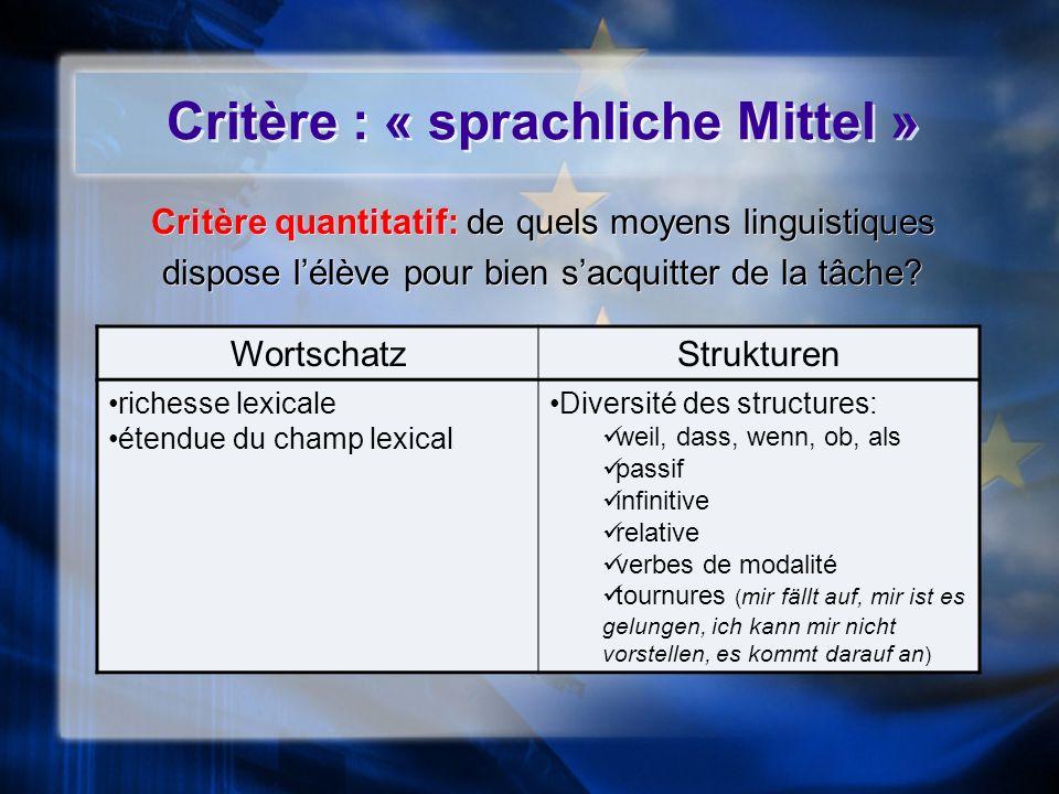 Critère : « sprachliche Mittel » Critère quantitatif: de quels moyens linguistiques dispose lélève pour bien sacquitter de la tâche? Critère quantitat