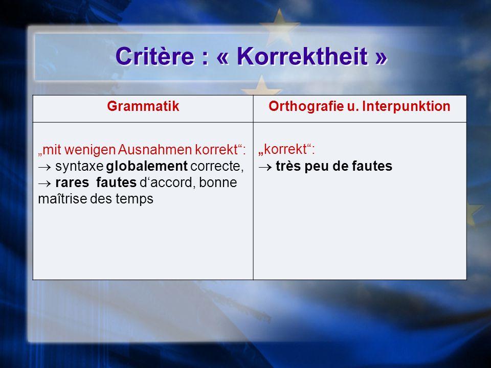 Critère : « Korrektheit » GrammatikOrthografie u. Interpunktion mit wenigen Ausnahmen korrekt: syntaxe globalement correcte, rares fautes daccord, bon
