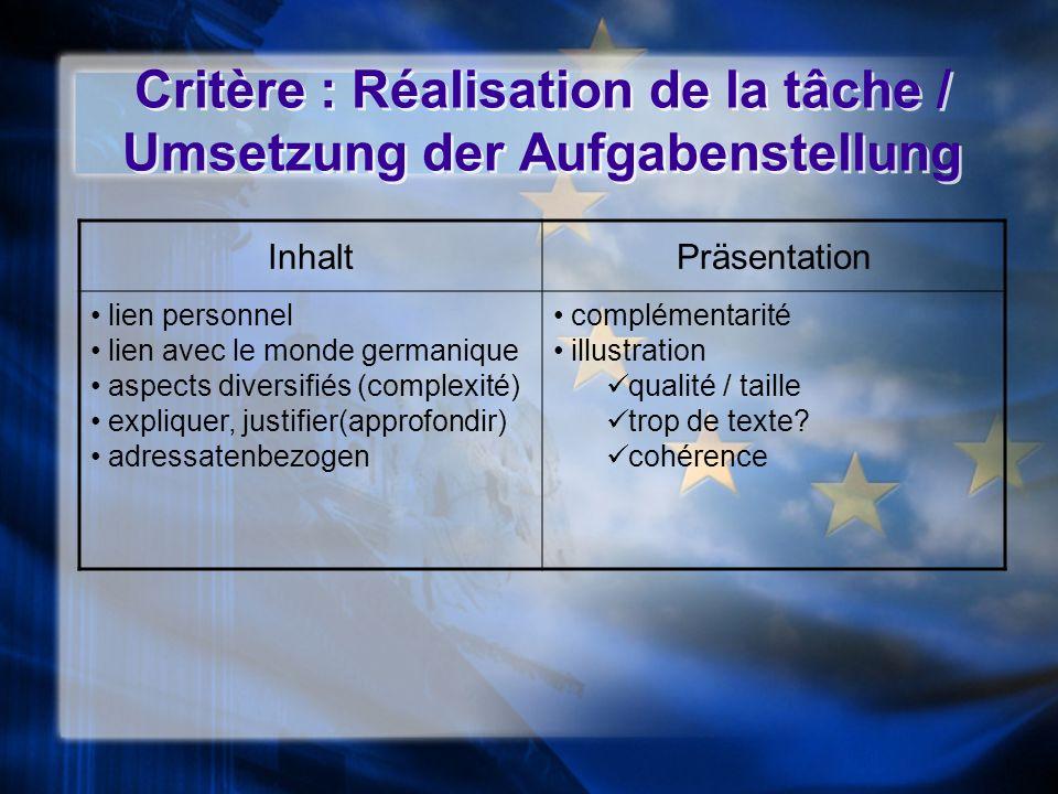 Critère : Réalisation de la tâche / Umsetzung der Aufgabenstellung InhaltPräsentation lien personnel lien avec le monde germanique aspects diversifiés