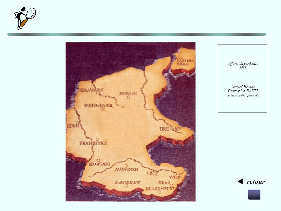 retour Affiche du parti nazi, 1938, Manuel Histoire Géographie, HATIER édition 2003, page 85