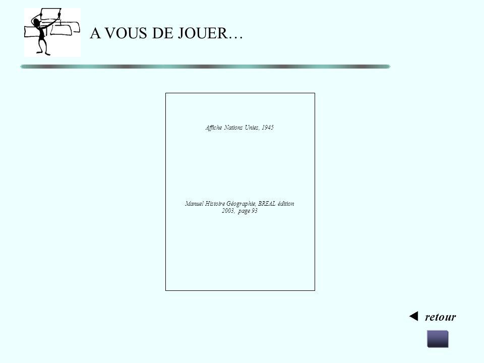 retour A VOUS DE JOUER… Affiche française communiste contre le plan Marshall. Manuel Histoire Géographie, HATIER édition 2003, page 131