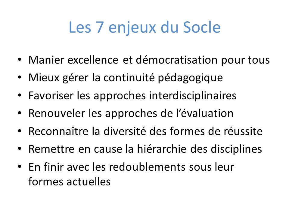Les 7 enjeux du Socle Manier excellence et démocratisation pour tous Mieux gérer la continuité pédagogique Favoriser les approches interdisciplinaires