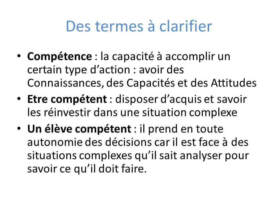 Des termes à clarifier Compétence : la capacité à accomplir un certain type daction : avoir des Connaissances, des Capacités et des Attitudes Etre com