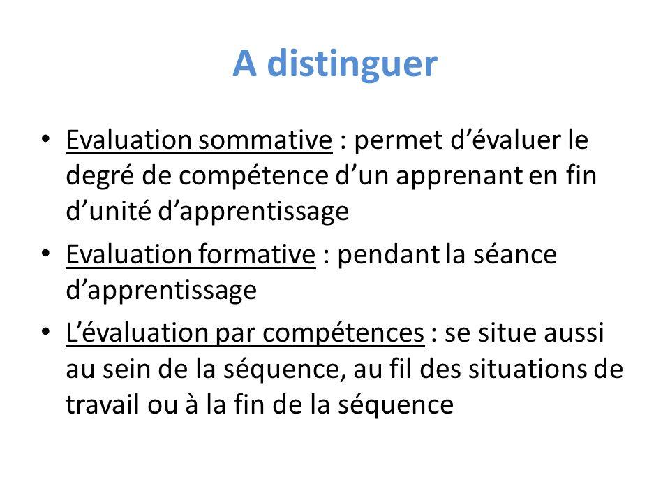 A distinguer Evaluation sommative : permet dévaluer le degré de compétence dun apprenant en fin dunité dapprentissage Evaluation formative : pendant l