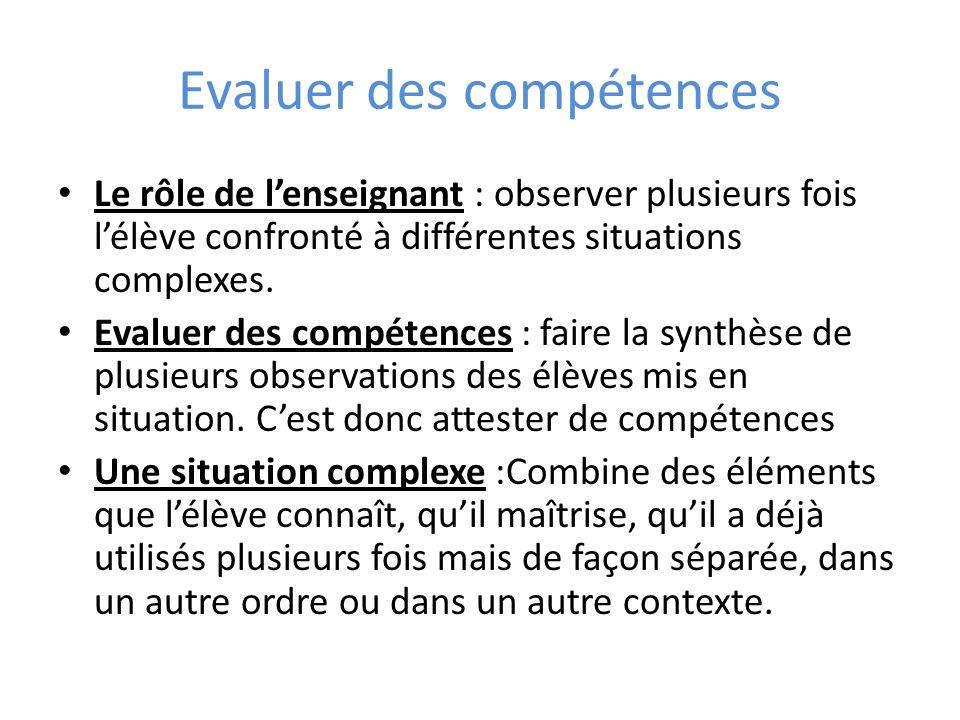 Evaluer des compétences Le rôle de lenseignant : observer plusieurs fois lélève confronté à différentes situations complexes. Evaluer des compétences