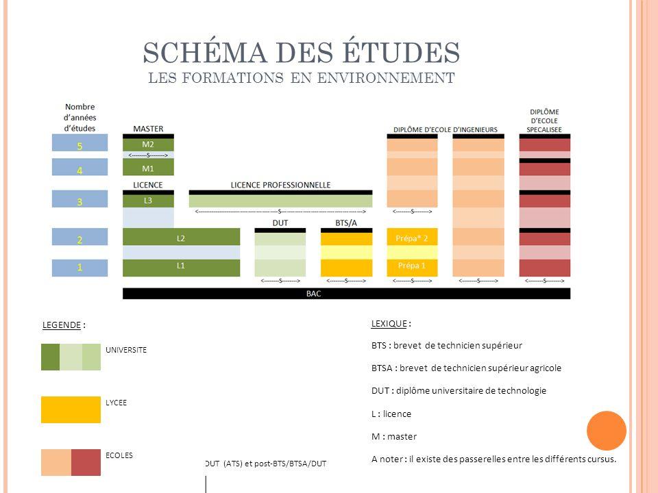 LEXIQUE : BTS : brevet de technicien supérieur BTSA : brevet de technicien supérieur agricole DUT : diplôme universitaire de technologie L : licence M