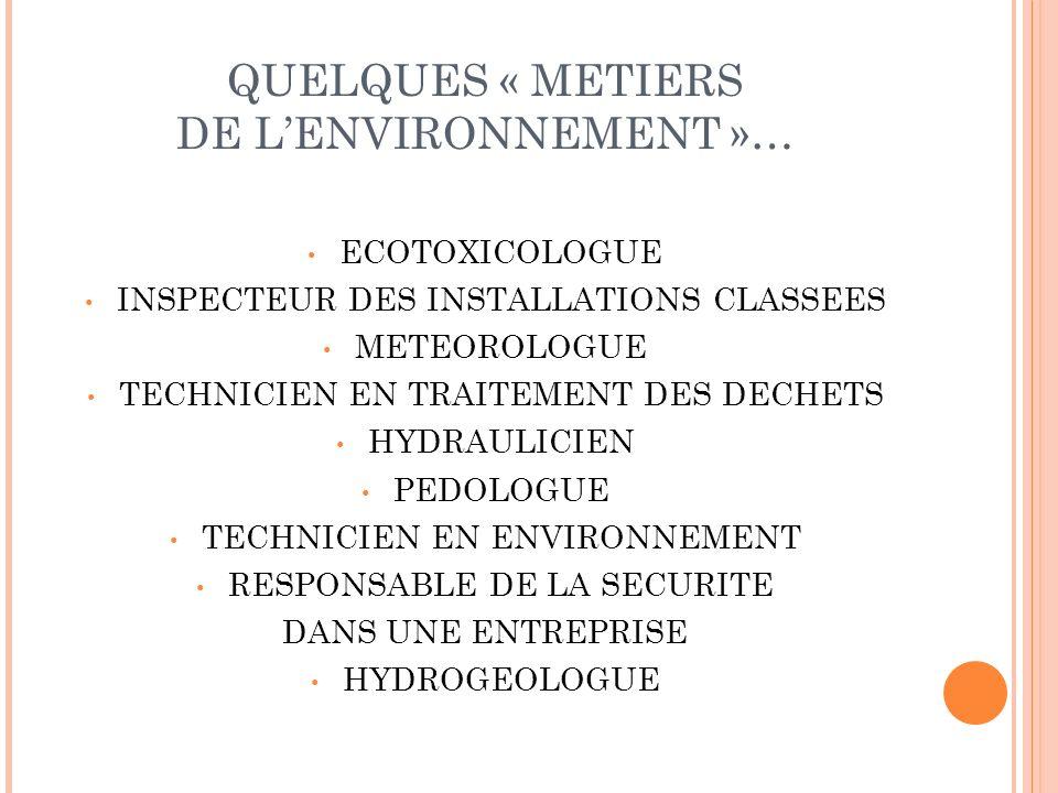 QUELQUES « METIERS DE LENVIRONNEMENT »… ECOTOXICOLOGUE INSPECTEUR DES INSTALLATIONS CLASSEES METEOROLOGUE TECHNICIEN EN TRAITEMENT DES DECHETS HYDRAUL