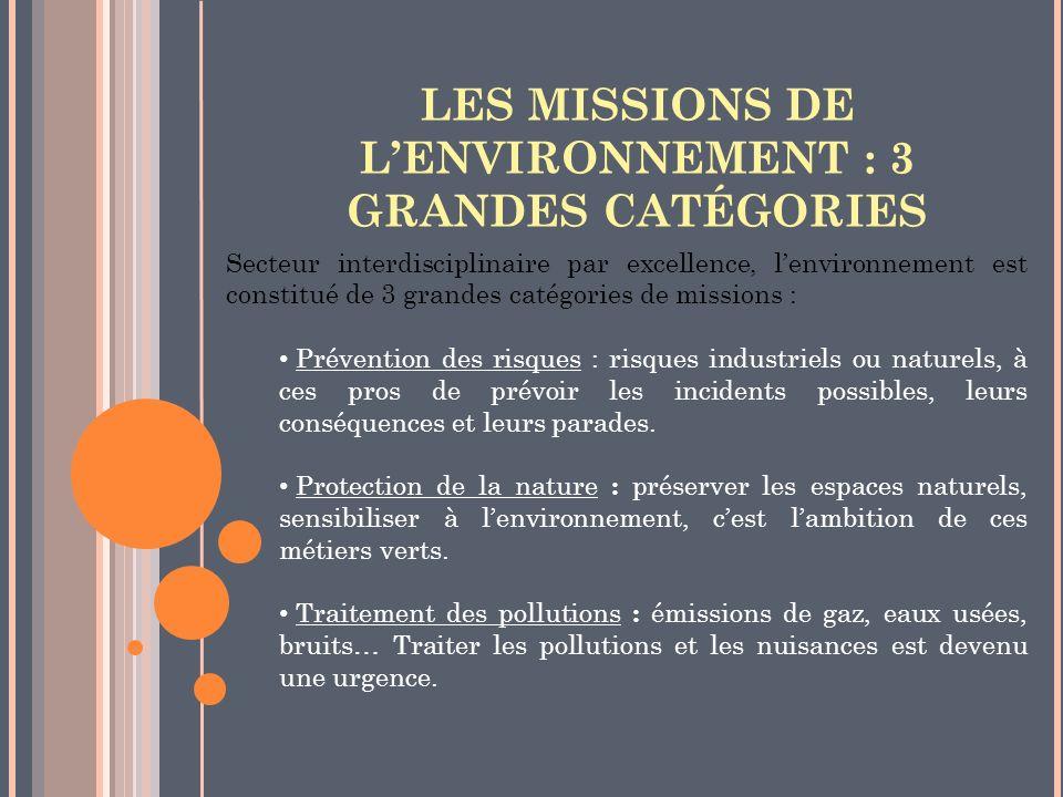LES MISSIONS DE LENVIRONNEMENT : 3 GRANDES CATÉGORIES Secteur interdisciplinaire par excellence, lenvironnement est constitué de 3 grandes catégories