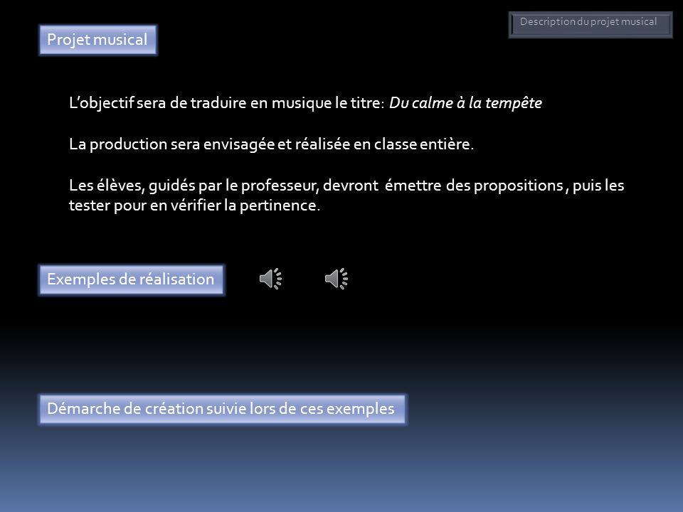 Description du projet musical Projet musical Lobjectif sera de traduire en musique le titre: Du calme à la tempête La production sera envisagée et réa