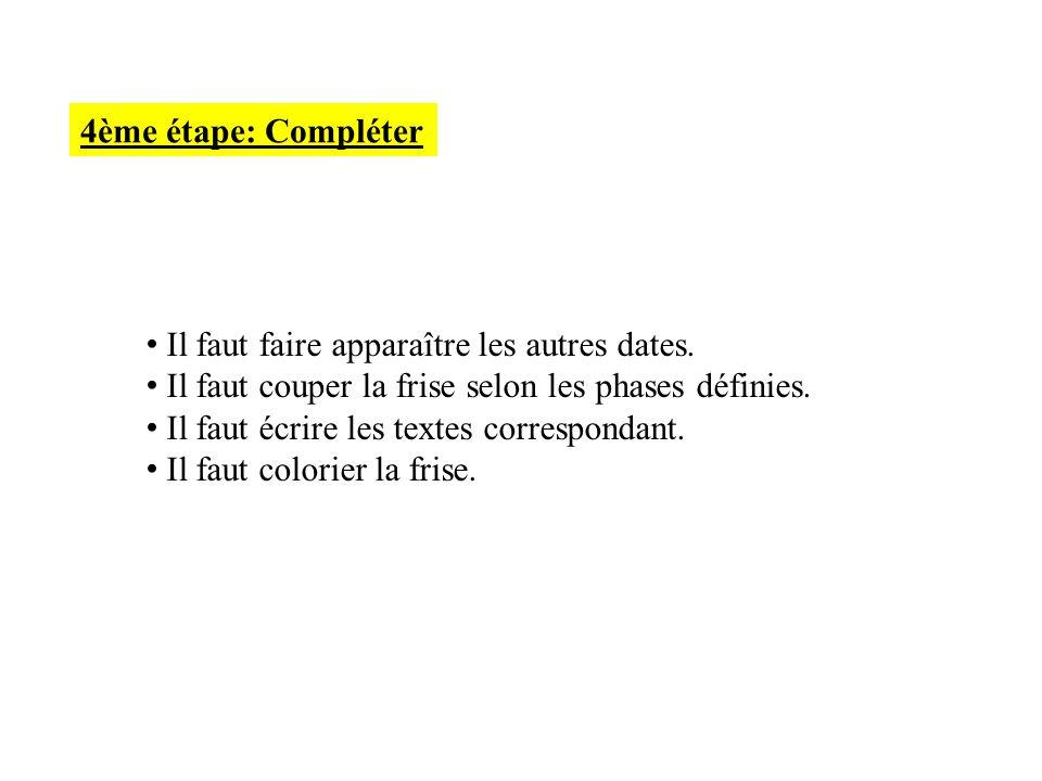 4ème étape: Compléter Il faut faire apparaître les autres dates. Il faut couper la frise selon les phases définies. Il faut écrire les textes correspo