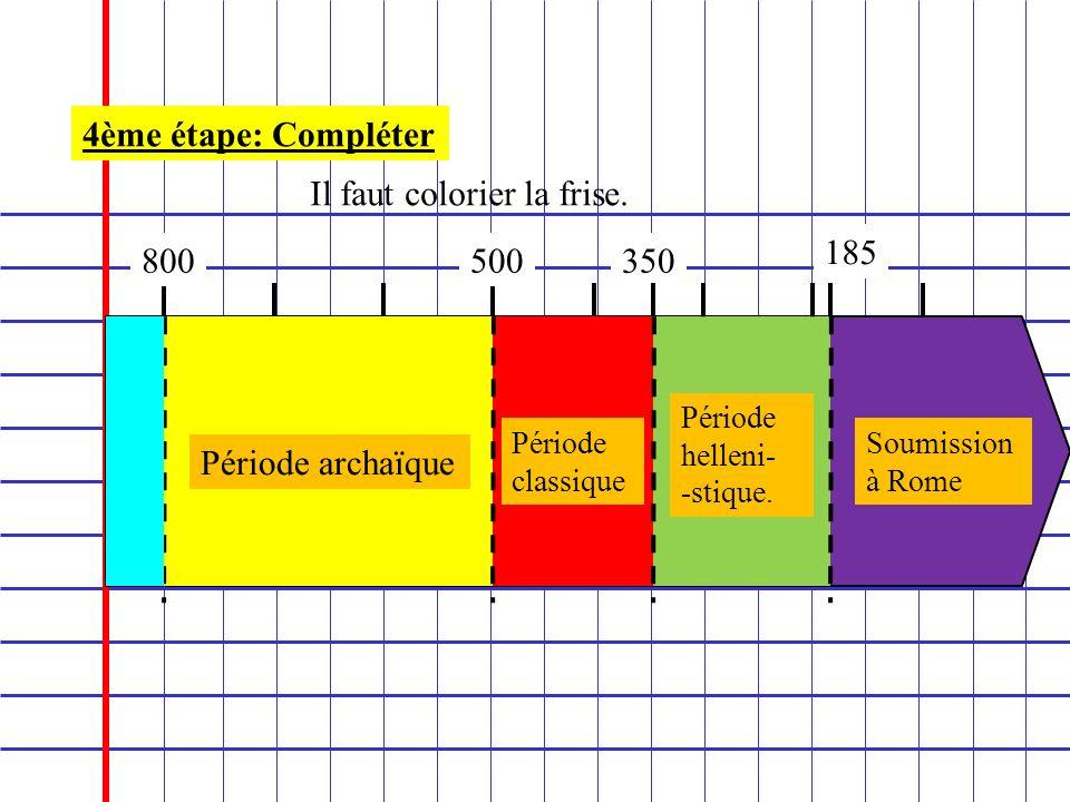 800 4ème étape: Compléter Il faut colorier la frise. 500350 185 Période archaïque Période classique Période helleni- -stique. Soumission à Rome