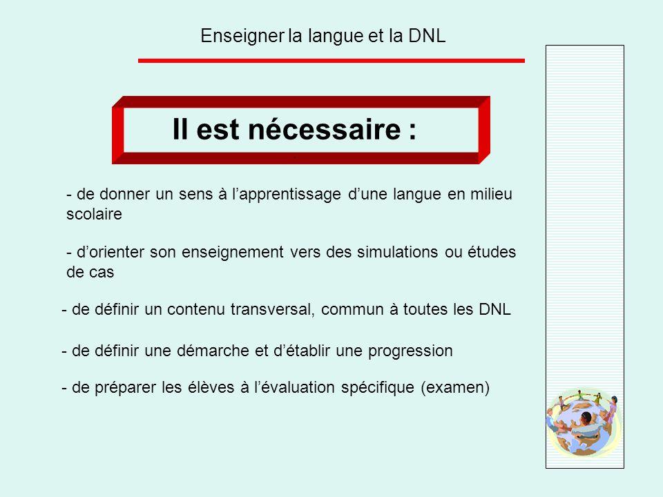 Enseigner la langue et la DNL Il est nécessaire :. - de donner un sens à lapprentissage dune langue en milieu scolaire - dorienter son enseignement ve