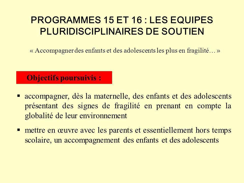 Les Equipes Pluridisciplinaires de Soutien ne se substituent pas aux dispositifs existants (C.E.L., P.E.L., C.L.A.S., Ecole ouverte, Contrat Temps libre).